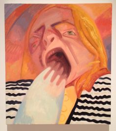 Dana Schutz <i>Yawn 2012 Oil on canvas 23 x 20 inches Mural Painting, Artist Painting, Figure Painting, Painting & Drawing, Dana Schutz, Magnum Opus, Portrait Art, Portraits, Western Art
