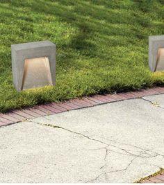 CONCRETE  OUTDOOR LIGHT BY  ZAMBELIS   LIGHTING Outdoor Lighting, Concrete, Sidewalk, Lights, Exterior Lighting, Side Walkway, Walkway, Lighting, Walkways