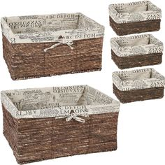 Amazon.com: Wicker Home Decorative Storage Organizer Baskets - 5 Piece Set - 3 small at 9.5x7x4.5, Medium 15.5x10.5x7.5, Large 17x13x8.5 Inches: Home & Kitchen