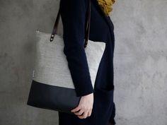 Schultertaschen - Tasche Tote Leinen grau - ein Designerstück von muri___ bei DaWanda