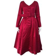 Preowned 1950s Galanos Magenta Red Silk Cocktail Dress ($2,400) ❤ liked on Polyvore featuring dresses, cocktail dresses, red, pre owned dresses, silk dress, vintage silk dress, magenta dress and red silk dress