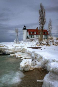 Point Betsie Lighthouse at Point Betsie near Frankfort, Michigan.