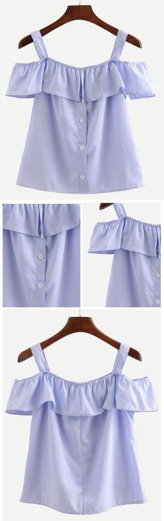 Blue Straps Vertical Striped Ruffle Shirt.