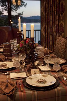 Home decor: table top inspiration for fall entertaining with muted tartan tablecloth bernadotte wildlife china and autumn hues