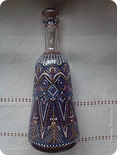 Декор предметов Роспись Графин в точечной росписи Бутылки стеклянные Краска фото 2