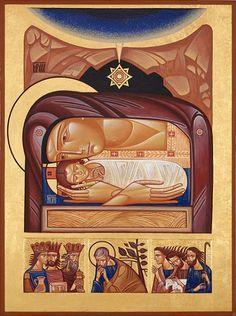 Nativity by Icon Writer, Lyuba Yatskiv Orthodox Icons, Byzantine Art, Church Art, Art, Modern Catholic, Catholic Art, Christian Art, Book Icons, Sacred Art