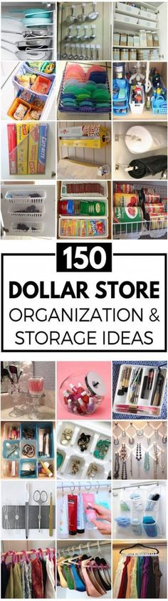 Hack spring cleaning just got a whole lot cheaper! Organize for less with these creative dollar store organization and storage ideas. There are ideas for every room in your house (kitchen, bathroom, laundry, closet, office and more!) Kitchen Dollar … Organisation Hacks, Bathroom Organization, Storage Organization, Bathroom Storage, Makeup Organization, Craft Storage, Makeup Storage, Dollar Store Organization, Creative Storage