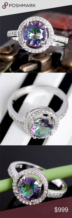 """COMING SOON! Sterling Silver Mystic Purple CZ Ring Coming Soon!! (Price available upon arrival). Brand new in original packaging. Beautiful, dainty & elegant 925 stamped sterling silver enchanting mystic rainbow color changing ~purple, green, blue, pink, red hues~ lunar lavender multicolor round cubic zircon crystal embellished statement ring. Surface width: 11mm. Size 6, 7 & 8. """"Like"""" to be notified of arrival! Jewelry Rings"""