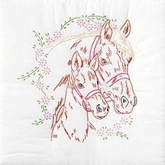 Stamped Mare and Colt White Quilt Kit (6 Quilt Blocks)