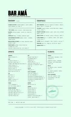 Bar Amá Menu by Project M Plus