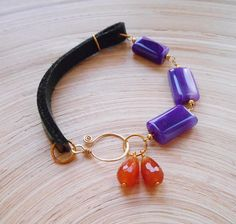 Aida gemstone beaded leather bracelet boho chic stacker
