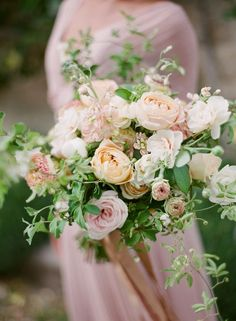 lush pastel peach bouquet -  Greg Finck Photography http://ruffledblog.com/modern-romantic-wedding-in-provence