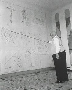 Matisse: stick drawings This is in the chapel that he designed  He is drawing the stations of the cross