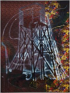 """Sigmar Polke. Watchtower (Hochsitz). 1984. Synthetic polymer paints and dry pigment on fabric, 9' 10"""" x 7' 4 1/2"""" (300 x 224.8 cm). The Museum of Modern Art, New York. Fractional and promised gift of Jo Carole and Ronald S. Lauder. © 2013 Estate of Sigmar Polke/Artists Rights Society (ARS), New York/VG Bild-Kunst, Bonn"""