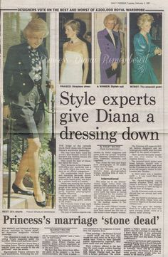Daily Express February 5th 1991 - Style Experts Give Princess Diana A Dressing Down