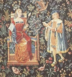 """Medieval Tapestry ~ """"The Noble Lady Spinning Wool"""""""