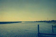 She Left Her Heart Wide Open Stretched Canvas / ocean art / beach house art / blue / salt marsh / low country / minimal landscape