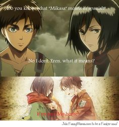 So it means she's going to get crushed with a giant rock and then abandoned to get retaken 5 years later just to have something taken from her insides. That's Eremika for ya. Mikasa X Eren, Armin, Attack On Titan Ships, Attack On Titan Anime, Eremika, Levihan, Eruri, Book Tv, Cute Cartoon Wallpapers