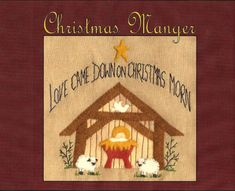 Christmas Manger - Wool Applique Pattern - by Beth Ritter for Wellington House Designs - Instant Digital Download