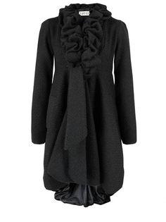 KELLY EWING Black Ruffle Coat $145