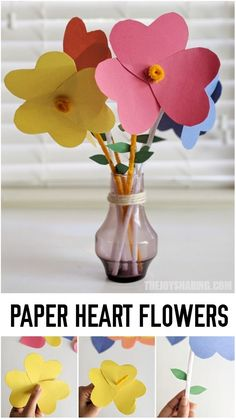 Easy flower craft for preschool and kindergarten kids. Lovely mother's day gift idea that kids can make. #thejoyofsharing #mothersday #mothersdaygifts #mothersdaygiftideas #mothersdaycrafts #preschoolcrafts via @4joyofsharing