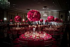 hot pink and grey wedding reception | Share