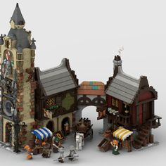 Medieval Marketplace Welcome to the third project of my little medieval town - Medieval Marketplace!In my marketplace you can see a tall tower with an astronomical clock on one side (a copy of the Old Town Hall Tower) and ordinary clocks on the. Medieval Houses, Medieval Town, Medieval Fantasy, Shed Building Plans, Lego Building, Lego Hogwarts, Minecraft, Lego Army, Amazing Lego Creations