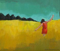 Original acrylic painting figurative contemporary modern art women girl girlfriend landscape colourful yellow red - Happiness