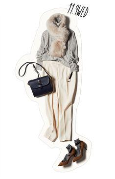 淡色ワントーンが一気におしゃれに! ファーと靴下でシンプルさにアクセントを-@BAILA ワタシを惹きつける。モノがうごく。リアルにひびく。BAILA公式サイト|HAPPY PLUS(ハピプラ)集英社
