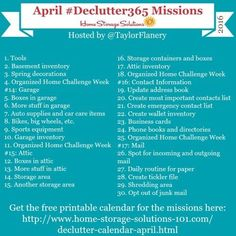 Join the #Declutter365 missions on Instagram and show off what you declutter. Here are your 15 minute decluttering missions for April! Follow @taylorflanery to see the missions daily.