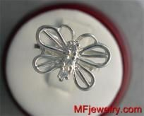 Diamond Butterfly Three stone Ring 10kt White Gold  $269.00