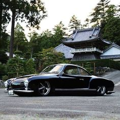 "This is a ""low light"" early Karmann Ghia which has been lowered to the max!"