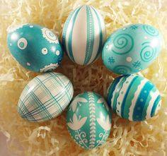 Easter Egg Set Aqua Turquoise Colors Ukrainian