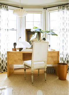 desk, bay window rug