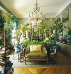 KK Auchincloss' Paris apartment....those potted palms.