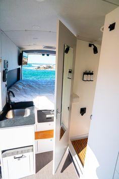 Ford Transit Camper Conversion, Van Conversion Interior, Camper Van Conversion Diy, Van Conversion With Bathroom, Motorhome, Camper Van Shower, Camper Van Kitchen, Camping Kitchen, Rv Camping