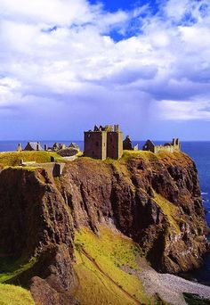 Dunnottar Castle  is a ruined medieval fortress located upon a rocky headland on the north-east coast of Scotland, about 3 kilometres  south of Stonehaven. The surviving buildings are largely