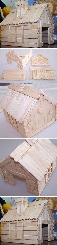 DIY Popsicle Stick House                                                                                                                                                                                 Más
