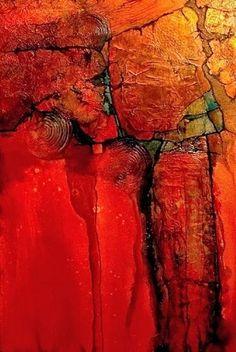 Geologic Abstract Mixed Media Painting Anasazi by Colorado Artist Carol Nelson -- Carol Nelson