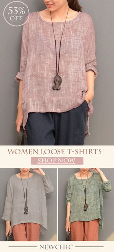 [Newchic Online Shopping] 53%OFF Fashionable Women Irregular Hem Long Sleeve O-neck Loose T-shirts