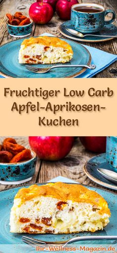 Rezept für einen fruchtigen Low Carb Apfel-Aprikosen-Kuchen - kohlenhydratarm, kalorienreduziert, ohne Zucker und Getreidemehl
