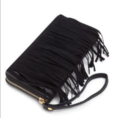 NewFringe Wallet Faux leather,faux suede,fringe zip around wallet. Wrist strap/two panels of layered fringe. Inside: 3 compartments with zipper pocket and slots for cards Bags Clutches & Wristlets