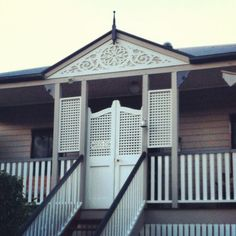 Batwing lattice door with lattice side panels Front Verandah, Front Deck, Front Porch, Front Stairs, Front Gates, Lattice Deck, Queenslander House, Bat Wings, Gazebo
