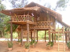 Thai House Hut House, Tiny House Cabin, House Porch, Bamboo Architecture, Tropical Architecture, Bamboo House Design, Jungle House, Cool Tree Houses, House On Stilts