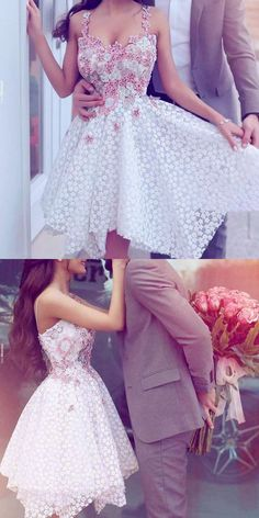 Lace Homecoming Dress,Homecoming Dress,Cute Homecoming Dress, Fashion Homecoming Dress,Short Prom Dress,White Homecoming Gowns,White Sweet 16 Dress
