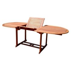 Vifah Eucalyptus Oval Extention Outdoor Table - Brown- Brown