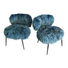 Image of Baxter Mongolia Fur Chairs - Pair