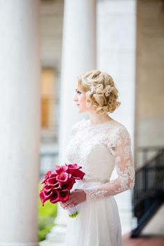 Elegant Fall Wedding at The Boston Public Library – Style Me Pretty Hairdo Wedding, Wedding Hairstyles, Wedding Shot, Red Wedding, Wedding Stuff, Boston Public Library Wedding, Gold Wedding Colors, Wedding Photography And Videography, Wedding 2017