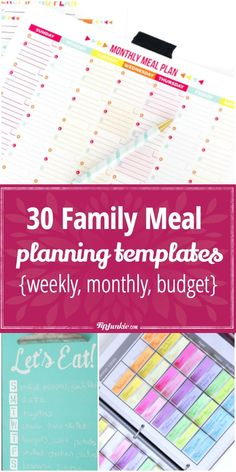 30 Meal Planning Templates That Will Make Dinner Time EASIER! via @tipjunkie