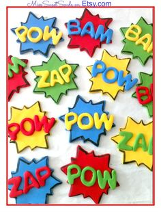 Superhero Cupcake Toppers by MissSweetSends on Etsy, $17.95